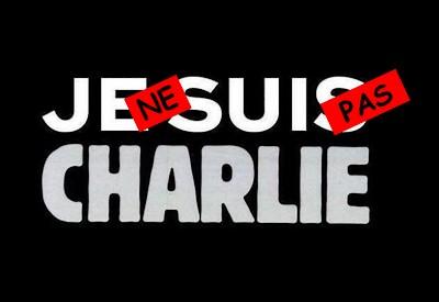 "A ""Je Suis Charlie"" sign altered to say ""Je ne suis pas Charlie"". Image from medias-presse.info"