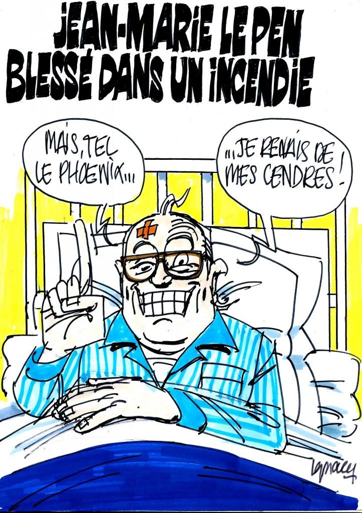 Ignace - Jean-Marie Le Pen blessé dans un incendie