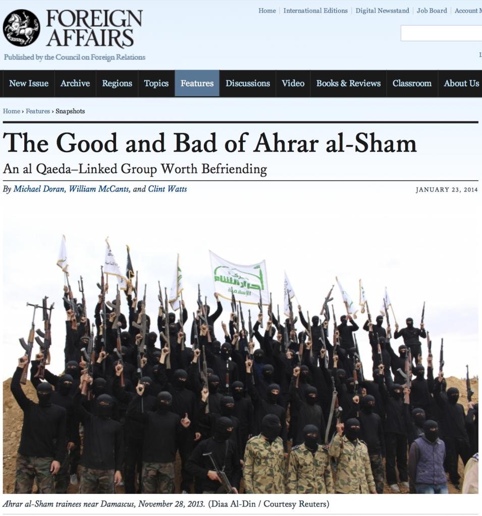 """Le mondialiste Council on Foreign Relations s'intéressait lui-aussi aux """"modérés"""" djihadistes d'Ahrar al-Sham"""