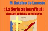 Conférence «La Syrie aujourd'hui» ce 14 novembre à 20h30 à Bailly