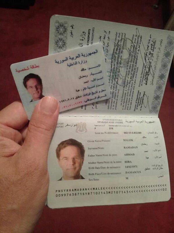faux passeport syrien au nom du premier ministre hollandais