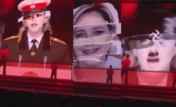 Madonna associe la photo de Marine Le Pen au nazisme lors d'un concert