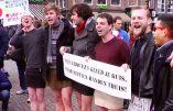 Société dégénérée : des hommes en mini-jupe pour protester contre les agressions sexuelles massives commises par des immigrés
