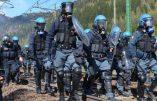 Forze dell'ordine impegnate nell'operazione di sgombero dei manifestanti del Brennero, 7 maggio 2016. ANSA / ROBERTO TOMASI