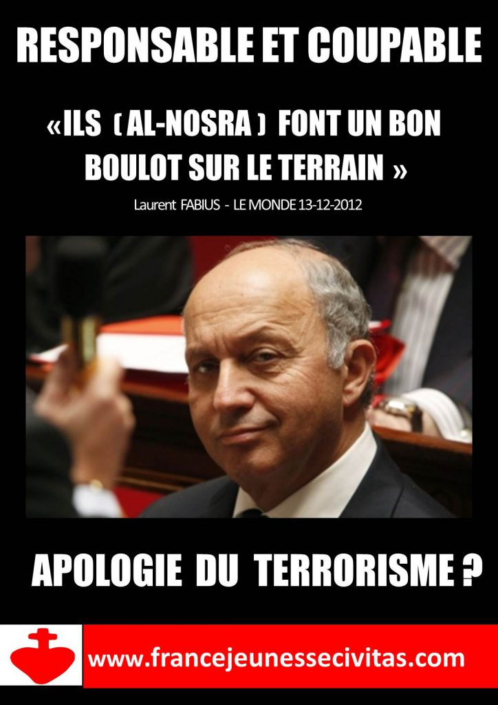 affiche Civitas Laurent Fabius Responsable et coupable