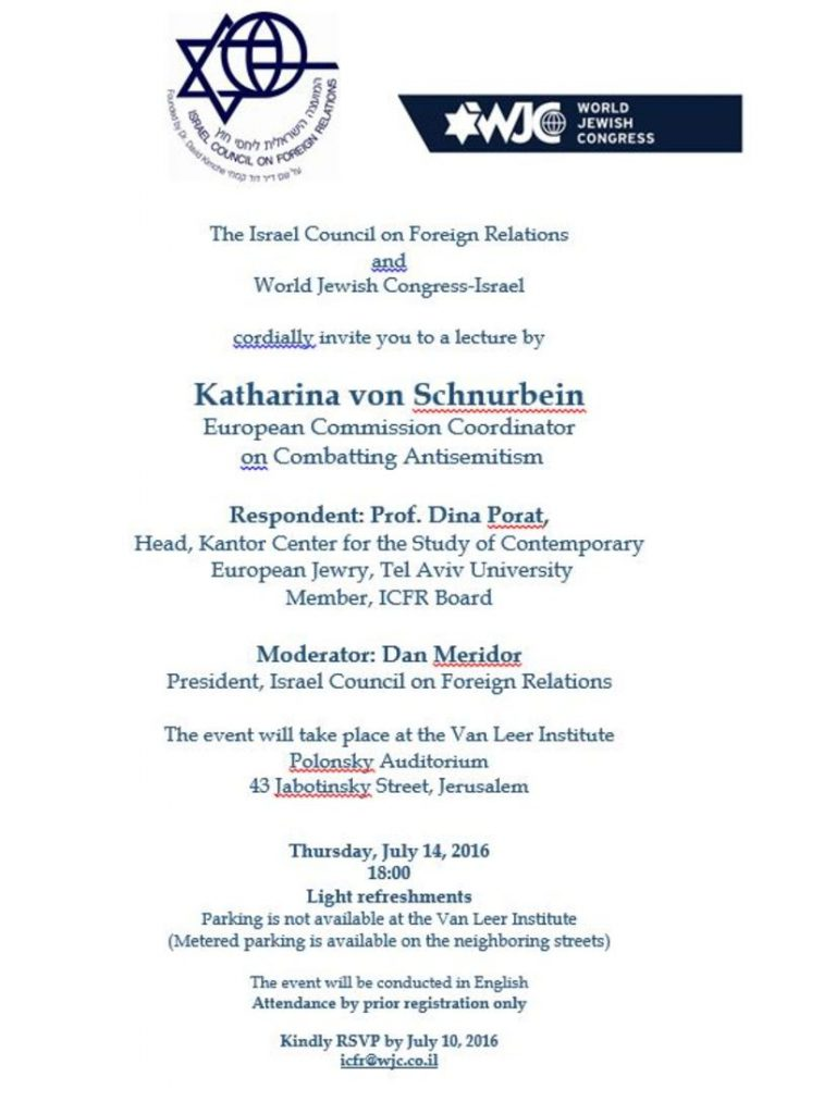 Invitation pour une activité du Congrès Juif Mondial avec Katharina von Schnurbein
