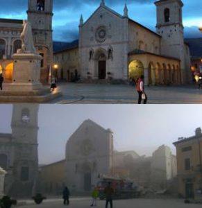La basilique de Saint Benoît de Nursie, symbole de la chrétienté, s'écoule