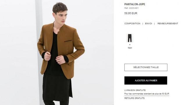 taille 7 beauté prix imbattable Zara propose la jupe-pantalon pour homme ! La théorie du ...
