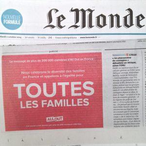 Encart publicitaire d'All Out dans le journal Le Monde