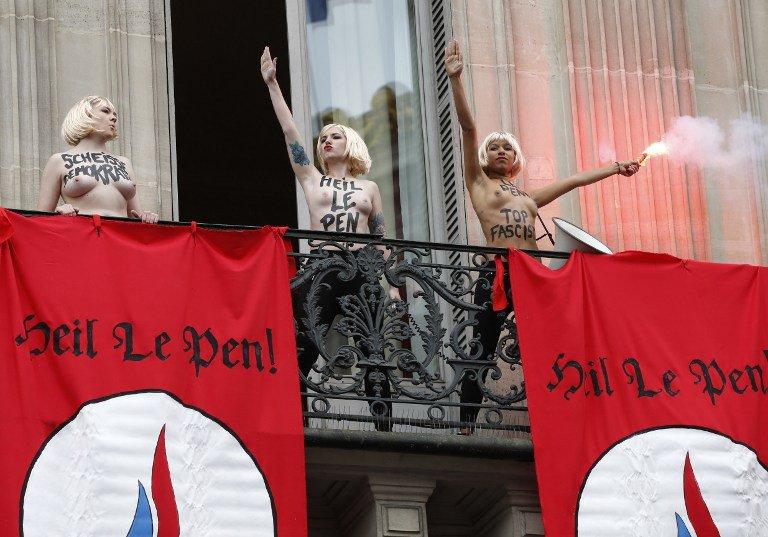 La mise en scène des Femen amalgamant le FN au nazisme et Marine Le Pen à Hitler