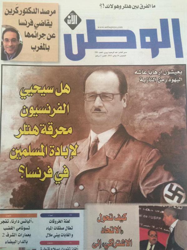 Même François Hollande finit en Hitler dans le journal marocain El Watan