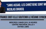 """2 mars – conférence """"La France doit-elle soutenir le régime syrien ?"""""""