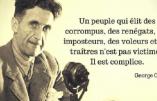 """""""Un peuple qui élit des corrompus, des renégats,…"""" (citation de George Orwell)"""