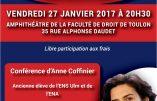 """27 janvier 2017 à Toulon – Conférence d'Anne Coffinier : """"Famille, Etat & éducation"""""""
