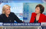 Acharnement de Ruth Elkrief contre Marine Le Pen pour faire la promotion de Macron (28 avril 2017)