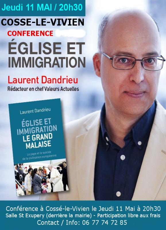 """Conférence """"Eglise et immigration"""" à Cosse le Vivien"""