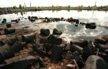 ADVANCE FOR THURSDAY AMS, JULY 10--Rusting chemical barrels lie strewn on the shore of a polluted lake in Dzerzhinsk, 400 km (250 miles) east of Moscow, May 15, 1997. Greenpeace recently named Dzerzhinsk as the site of the worst chemical pollution in Russia and called its nearby lake the most poisonous in the world. (AP Photo/Sergei Karpukhin)