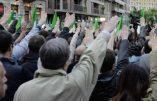 Militanti durante la manifestazione neofascista in programma a Milano, 29 aprile 2014. ANSA/DANIEL DAL ZENNARO