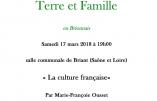 """17 mars 2018 à Briant – """"La culture française"""" (Marie-Françoise Ousset)"""