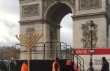 Les Loubavitch installent une menorah devant l'Arc de Triomphe