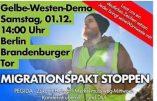 En Allemagne, les Gilets Jaunes manifestent contre le pacte mondial des migrations de l'ONU
