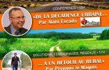 """Rappel – 16 février 2019 à Toulouse – Conférence d'Alain Escada : """"De la décadence urbaine à un retour au rural"""""""