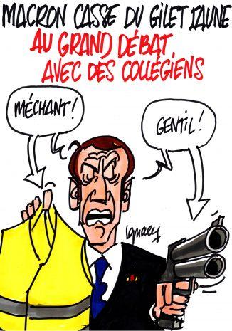 Ignace - Macron casse discrédite les Gilets jaunes devant des élèves