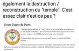 """Pourquoi ils parlent de """"reconstruction"""" de Notre-Dame de Paris : le plan maçonnique"""