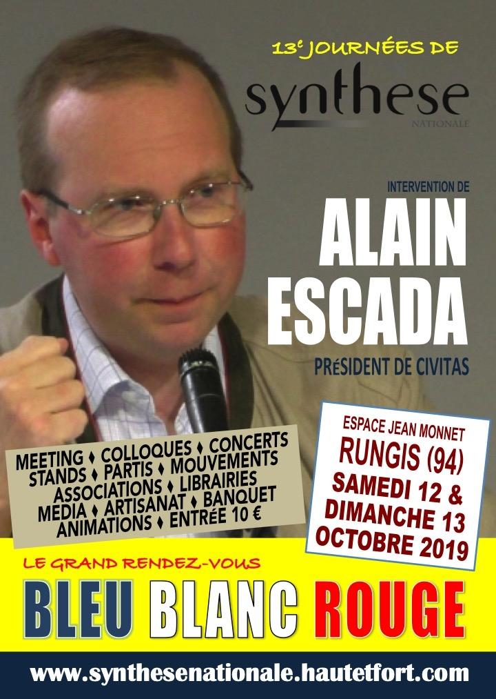 12 & 13 octobre 2019 – Journées de Synthèse Nationale avec intervention d'Alain Escada