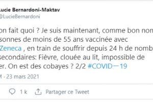"""Lucie Bernardoni témoigne d'effets secondaires après sa vaccination : """"On est des cobayes ?"""""""