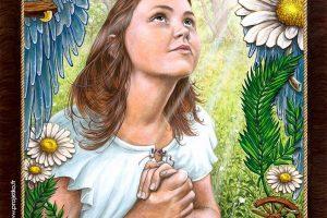 Portrait de Jehanne, enfant de 12 ans, investie de sa mission par Saint Michel, Sainte Catherine et Sainte Marguerite