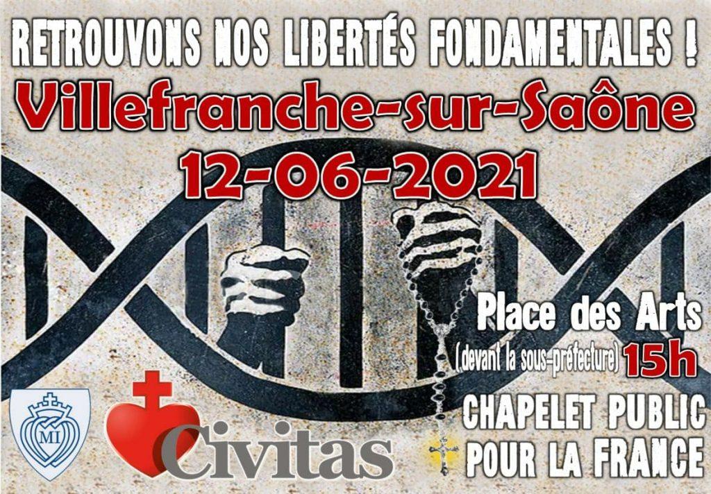 12 juin 2021 à Villefranche-sur-Saône : retrouvons nos libertés fondamentales !